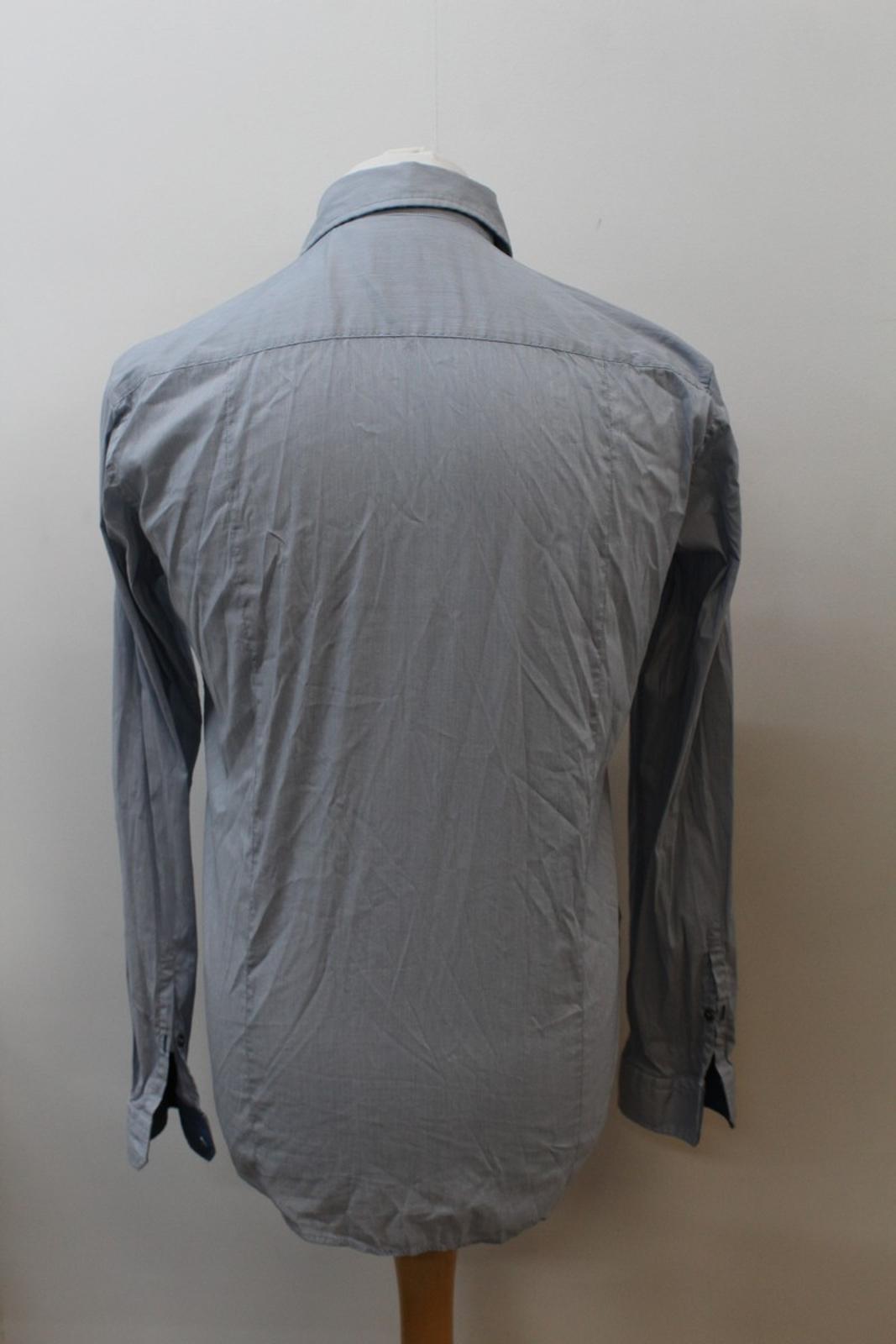 Hugo-Boss-Para-Hombre-Azul-Mezcla-De-Algodon-Manga-Larga-a-Rayas-Calce-Ajustado-Camisa-Informal-M miniatura 5