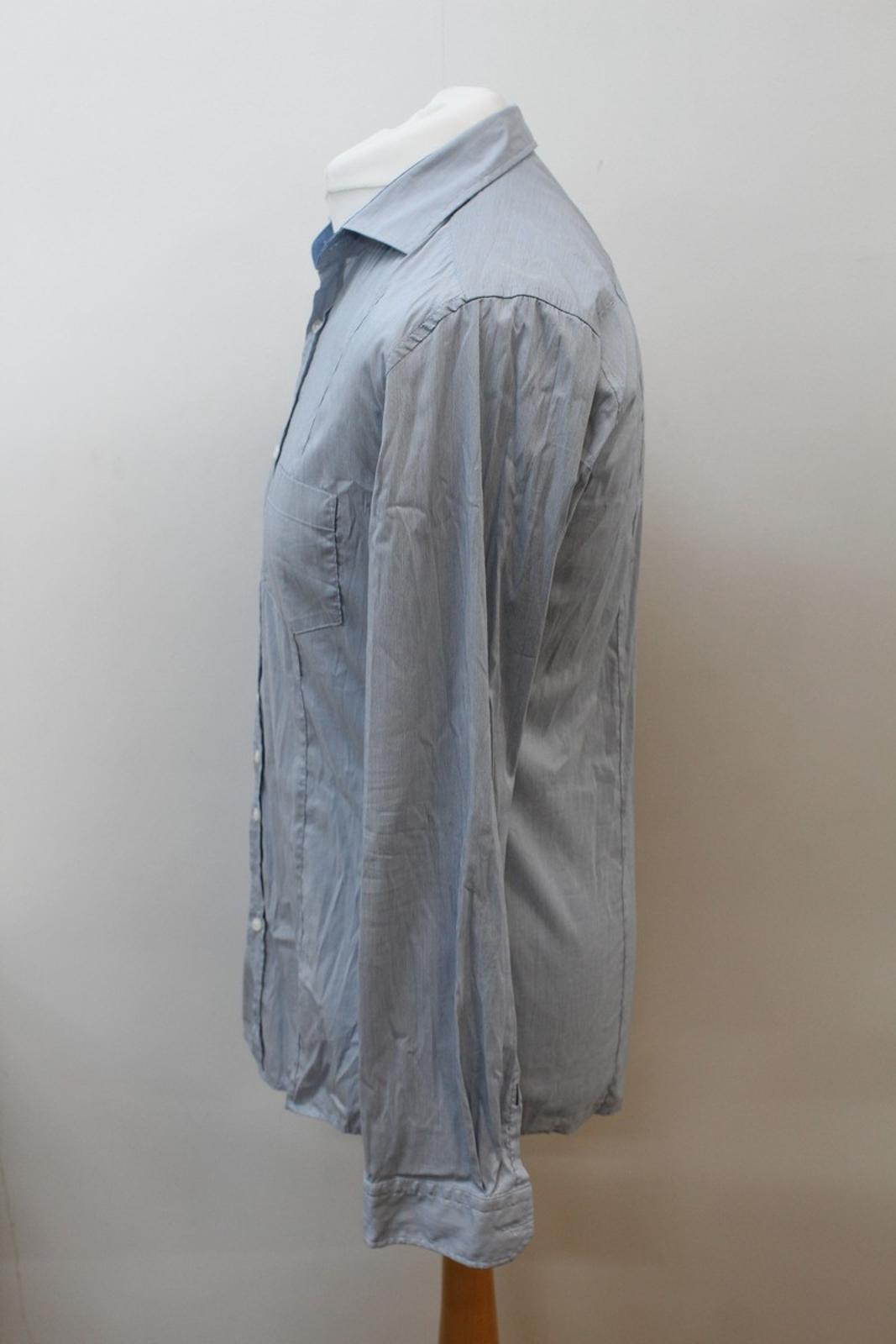 Hugo-Boss-Para-Hombre-Azul-Mezcla-De-Algodon-Manga-Larga-a-Rayas-Calce-Ajustado-Camisa-Informal-M miniatura 6