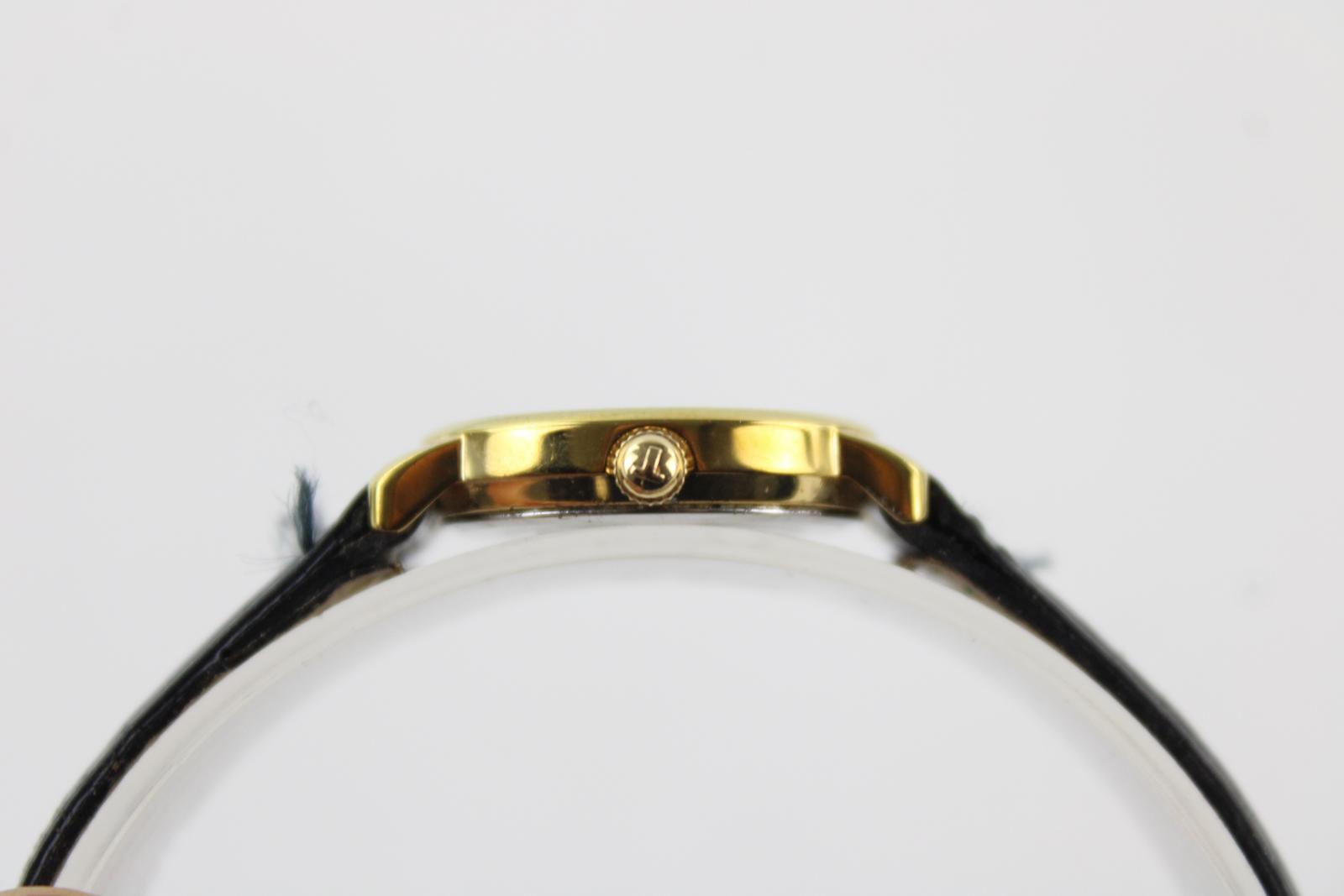 Mesdames-TISSOT-1853-ton-or-Montre-bracelet-Quartz-travaillant-avec-bracelet-en-cuir-noir miniature 5