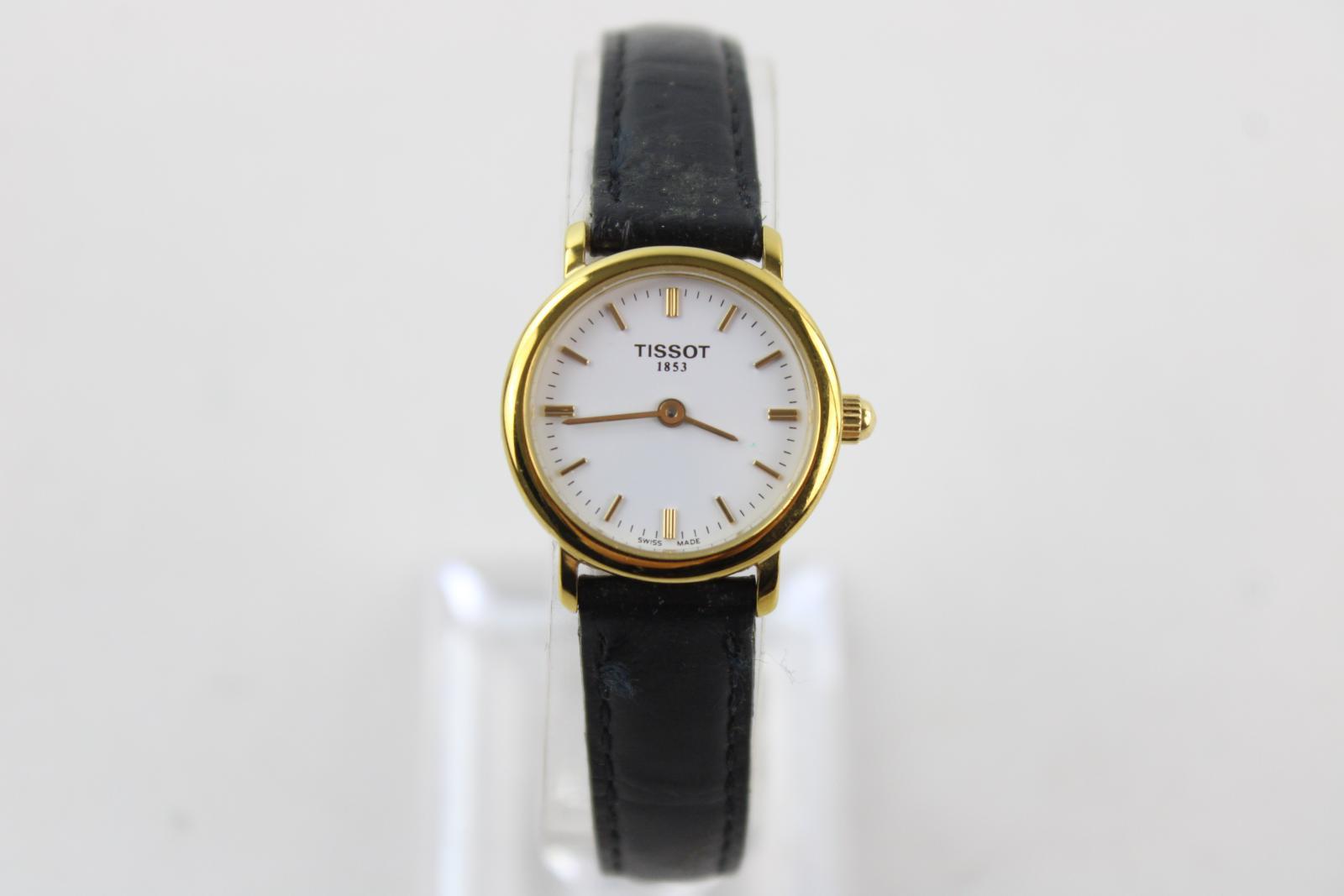 Mesdames-TISSOT-1853-ton-or-Montre-bracelet-Quartz-travaillant-avec-bracelet-en-cuir-noir miniature 11