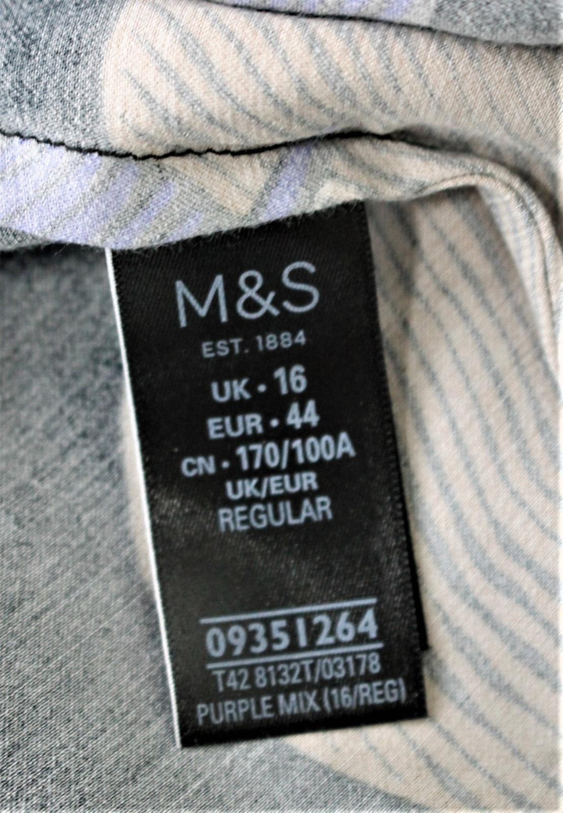 Marks-amp-Spencer-Negro-Abstracto-Impresion-De-Hojas-Manga-Larga-Vestido-Recto-Midi-UK16 miniatura 8