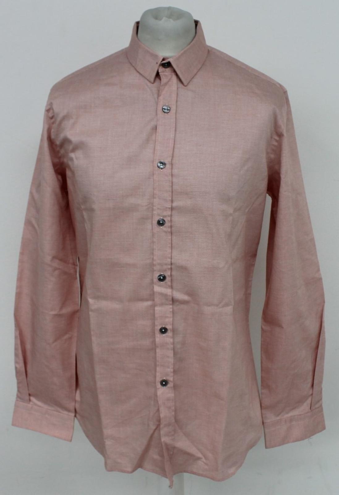 Paul-Smith-Para-Hombre-Rojo-Y-Blanco-Micro-Grafico-Impresion-a-medida-con-Camisa-Talla-17-43-Nuevo miniatura 2