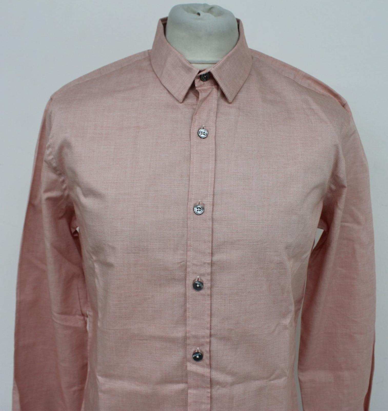 Paul-Smith-Para-Hombre-Rojo-Y-Blanco-Micro-Grafico-Impresion-a-medida-con-Camisa-Talla-17-43-Nuevo miniatura 3