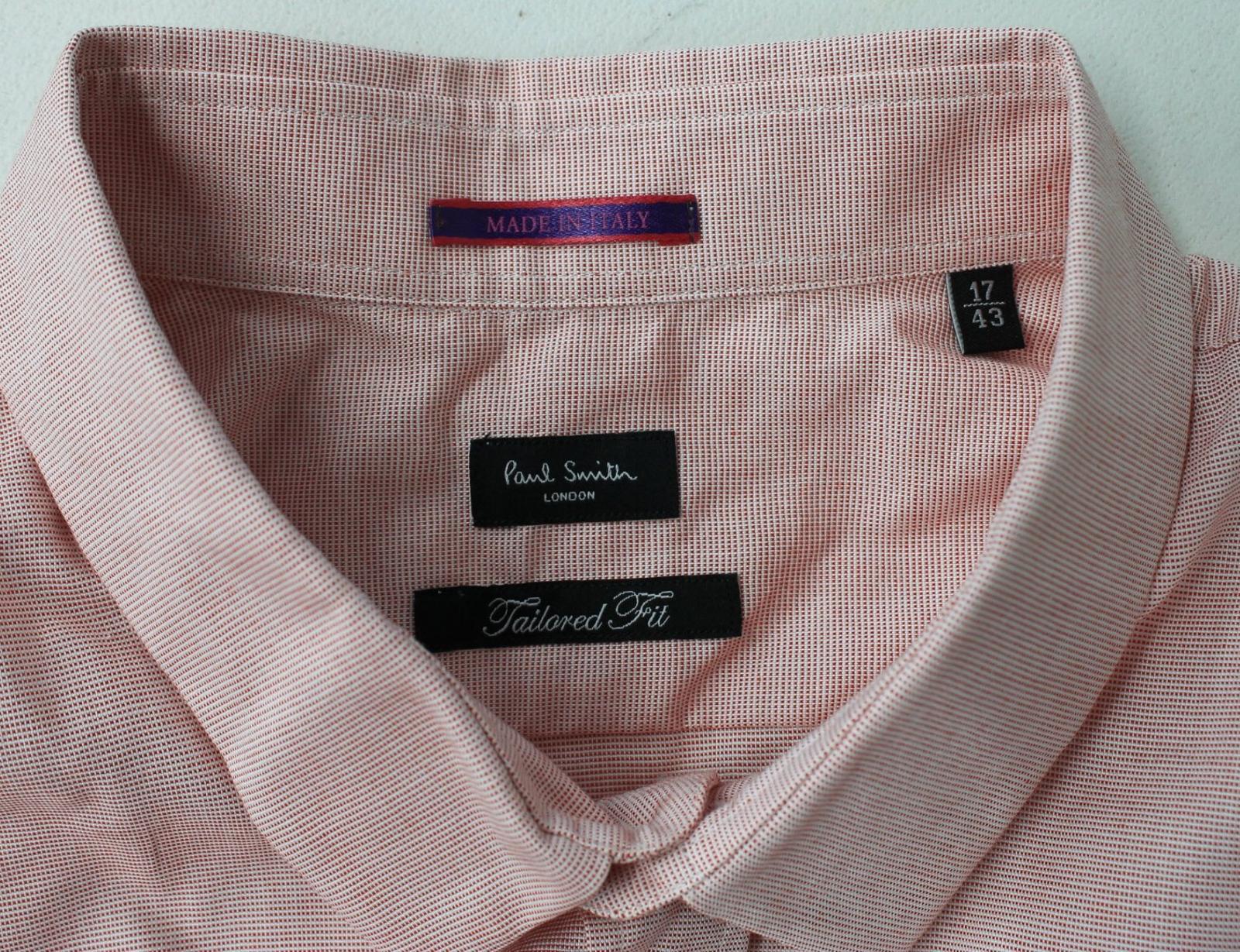 Paul-Smith-Para-Hombre-Rojo-Y-Blanco-Micro-Grafico-Impresion-a-medida-con-Camisa-Talla-17-43-Nuevo miniatura 7